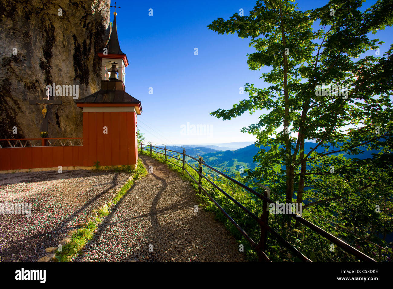 Wildkirchli, Switzerland, Europe, canton Appenzell, Innerrhoden., Alpstein, view point, cave, way, chapel, morning - Stock Image