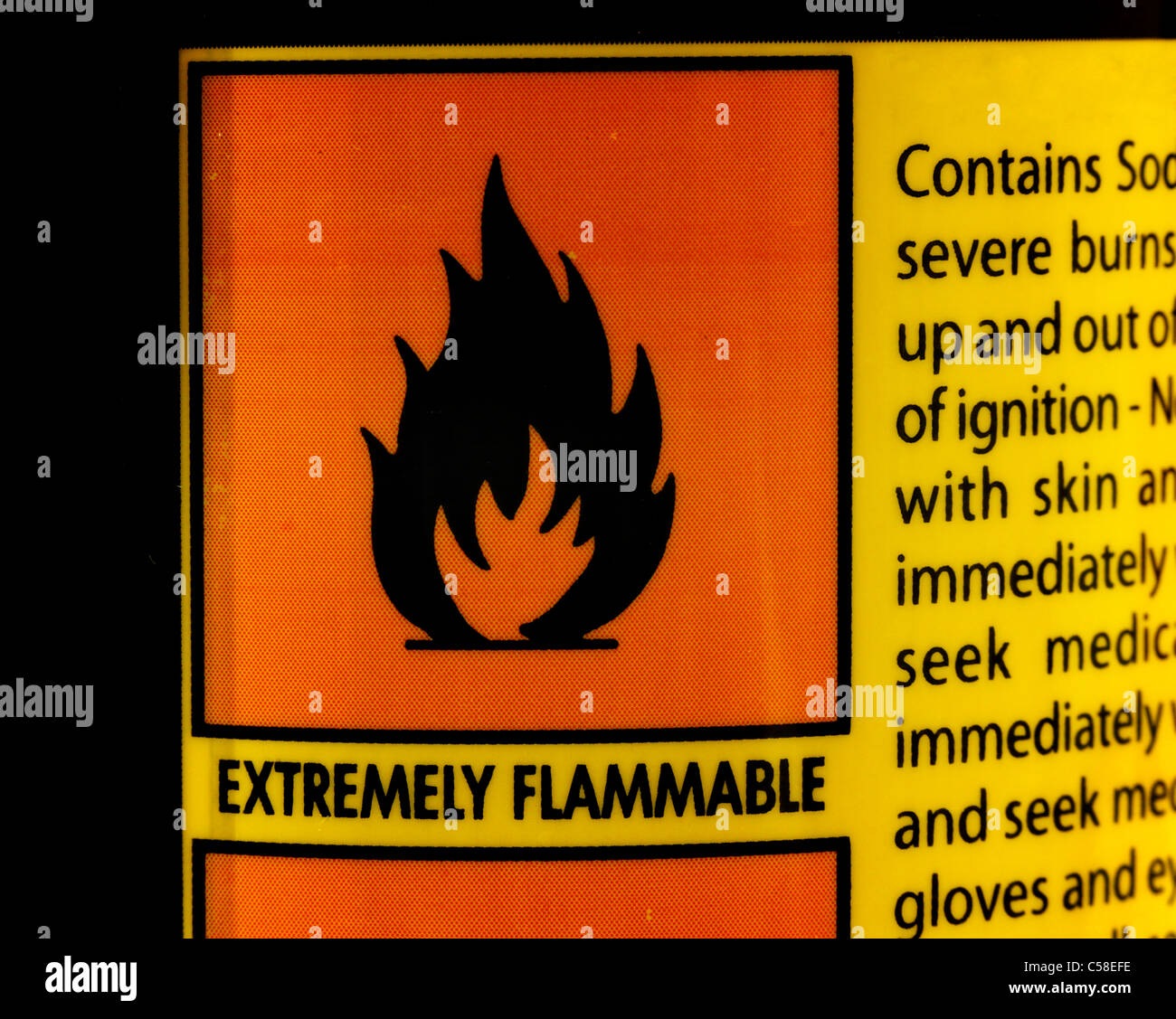 Warning Label Flammable Logo - Stock Image