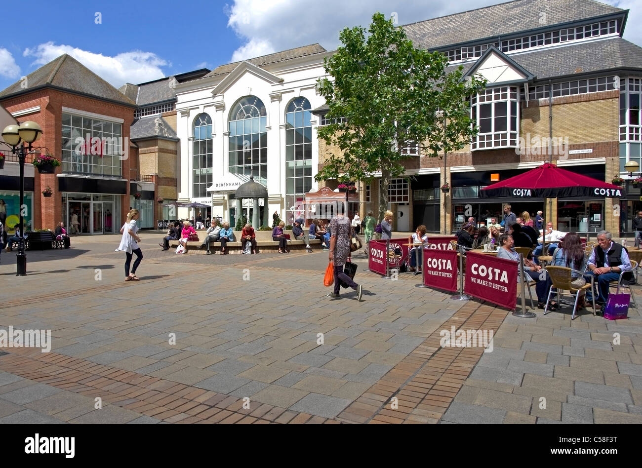 035a69cb29 Shopping area in the centre of Colchester with usual branded shops like  Debenhams,Costa Coffee and H&M