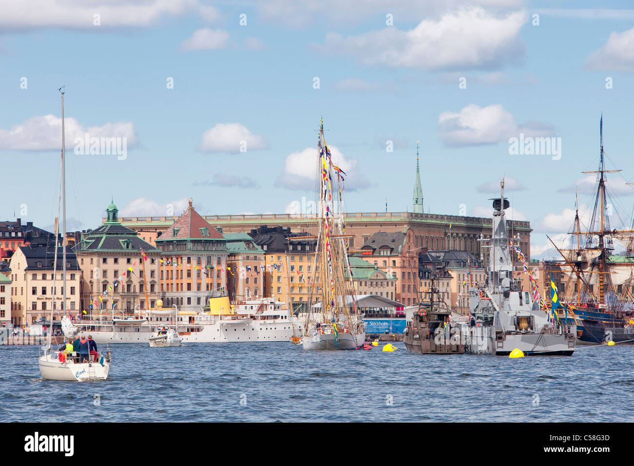 Boat, Boats, Cities, City, Cityscape, Cityscapes, Colour, Colour, Day, Daytime, Europe, Exterior, Gamla Stan, Horizontal, - Stock Image