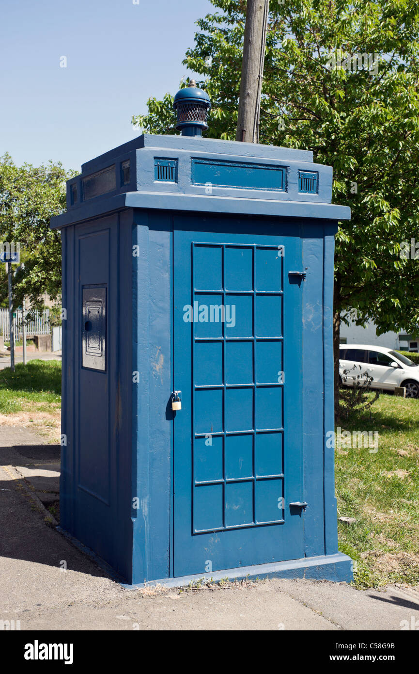 Restored old tardis style blue police box in Newport Gwent South Wales UK - Stock Image