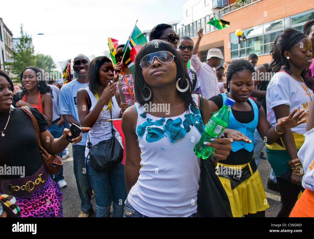 People heading towards Notting Hill Carnival - Stock Image