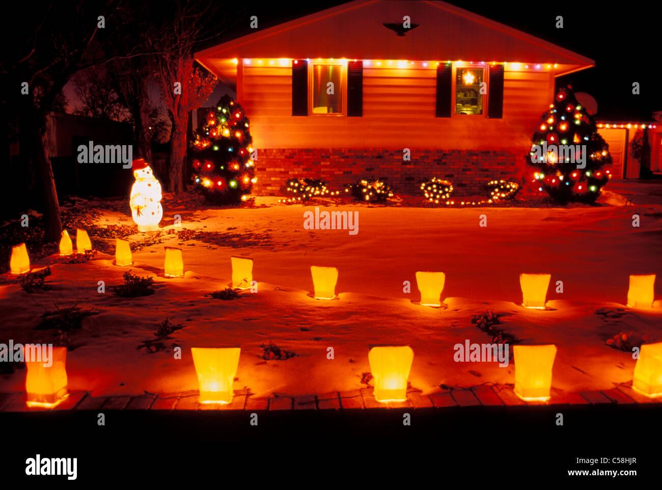 Christmas, Lights, home, decoration, luminaries, New Mexico, USA ...