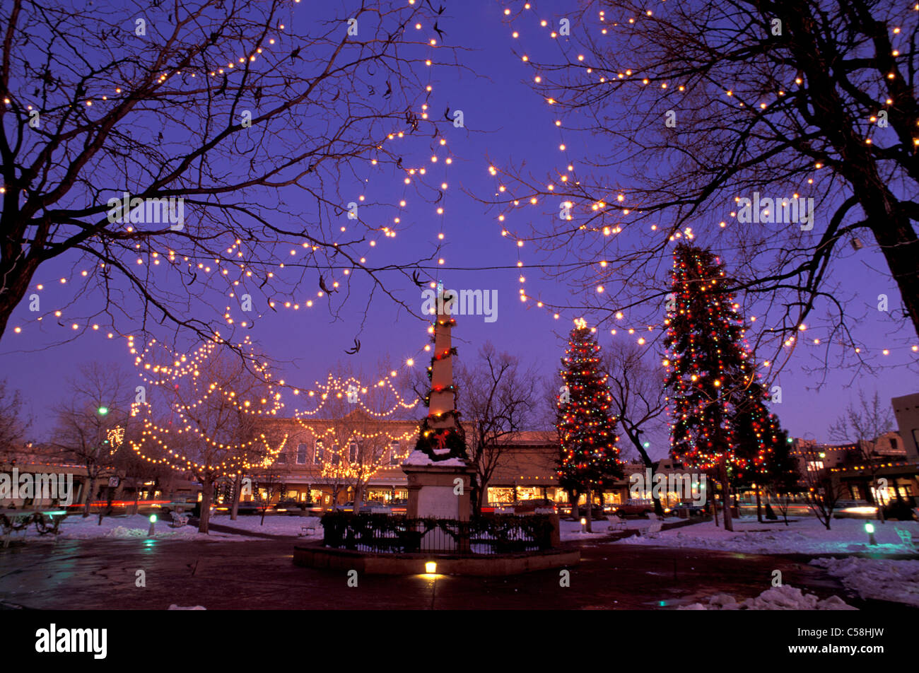 Christmas Lights Plaza Santa Fe New Mexico Usa United States Stock Photo Alamy