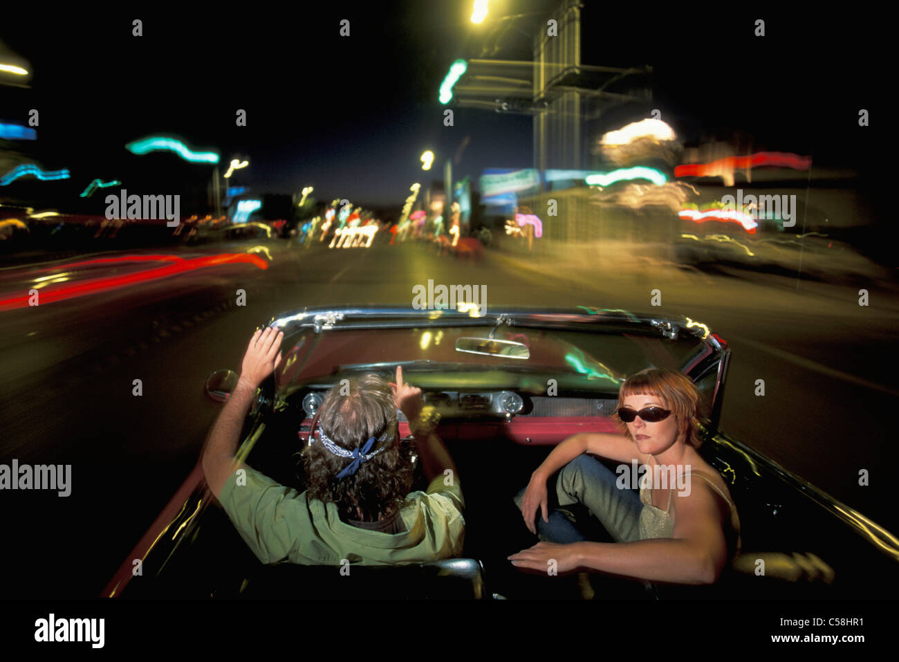 Pink Cadillac, People, driving, Albuquerque, New Mexico, USA, United States, America, 1962, car, convertible, by Stock Photo