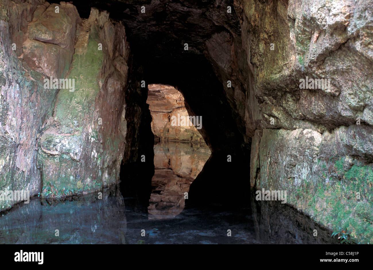 Cavern, Chapada dos Guimares, Mato Grosso, Brazil, South America, cave, water - Stock Image