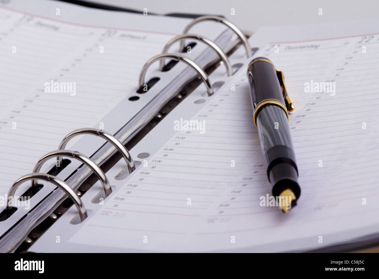 filler on open diary - Stock Image