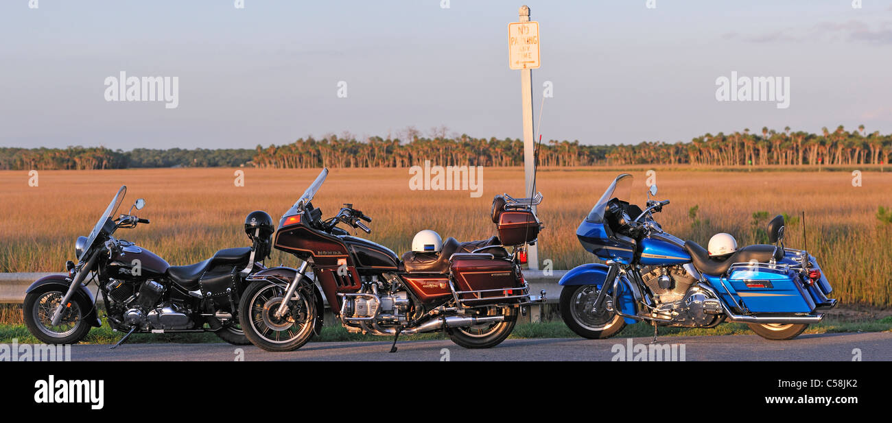 Motorcycles, parked, Bayport Park, Pine Island, near Spring Hill, Florida, USA, United States, America, road - Stock Image