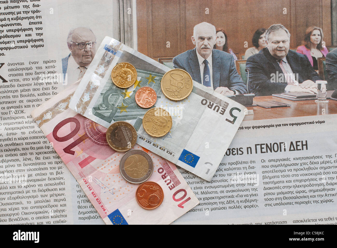 greece,prime,minister,money,crisis,debt,bankruptcy,financial,finance,newspaper,news - Stock Image