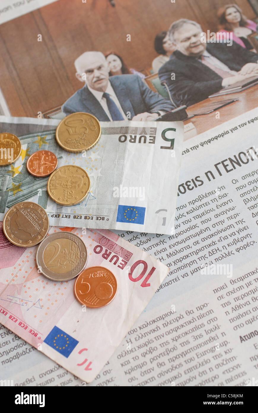 greece,prime,minister,money,crisis,debt,bankruptcy,financial,finance,newspaper,news - Stock Image