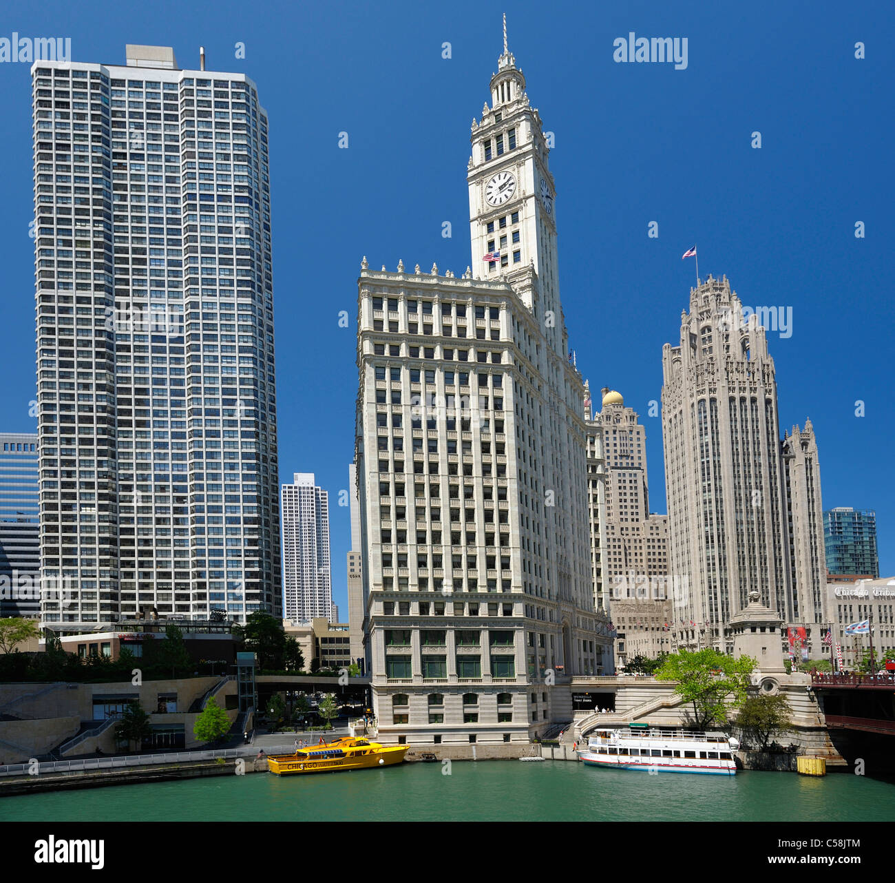 Wrigley Building, Chicago River, Chicago, Illinois, USA, United States, America, city, skyline, buildings, river - Stock Image