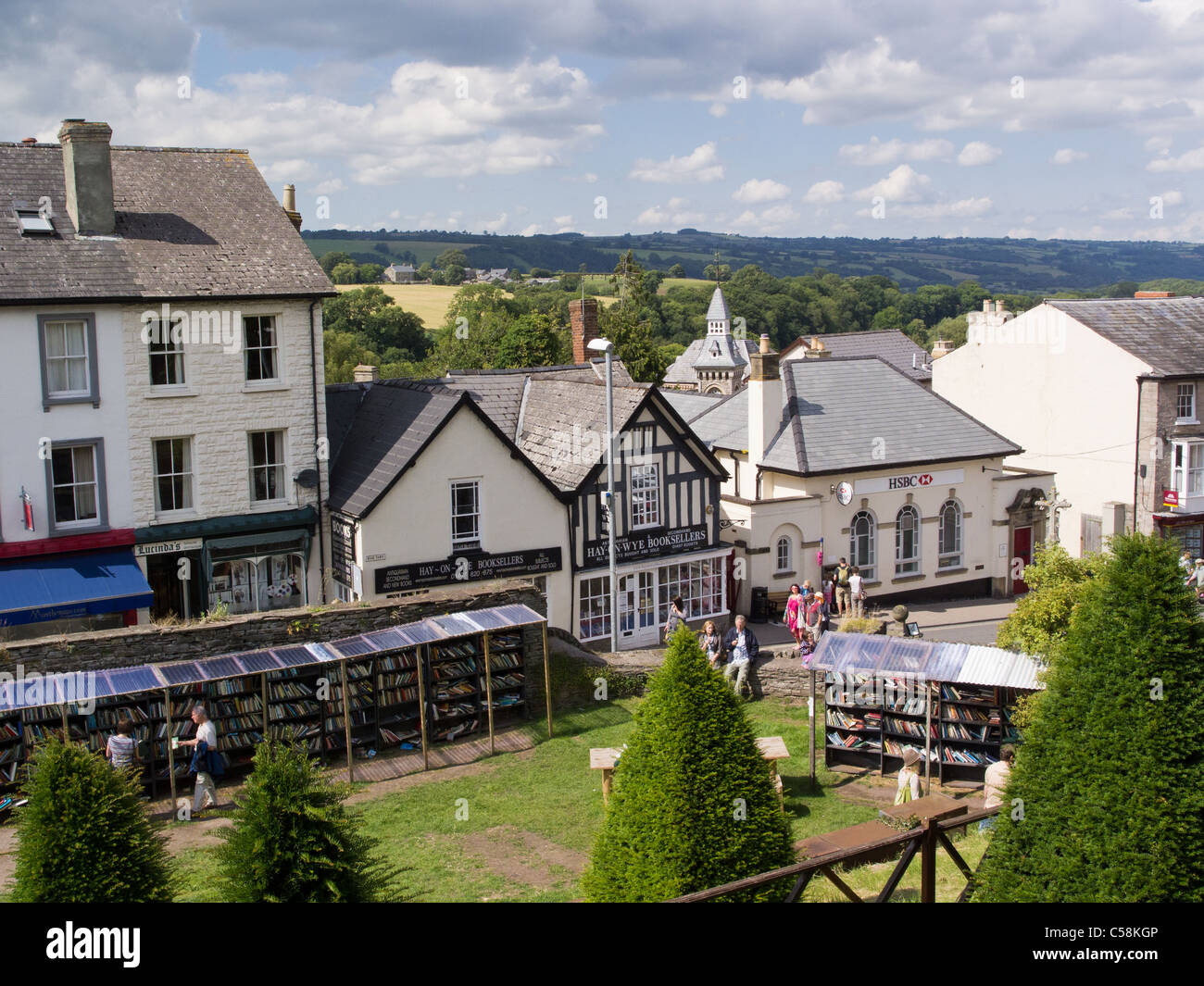 Hay-on-Wye on the Welsh border is famous for its book shops and the literary festival - Stock Image