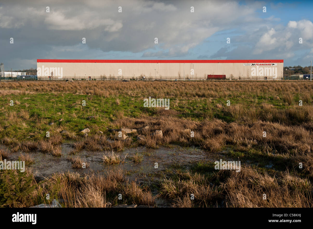 Flancare Logistics Warehouse outside Longord town, Co. Longford Ireland. - Stock Image