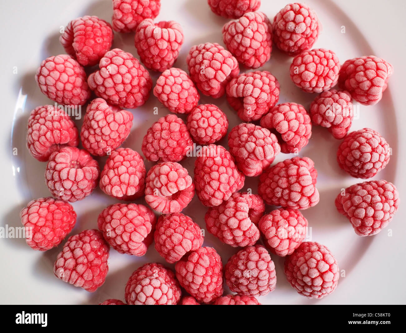 Frozen raspberries on a white plate - Stock Image