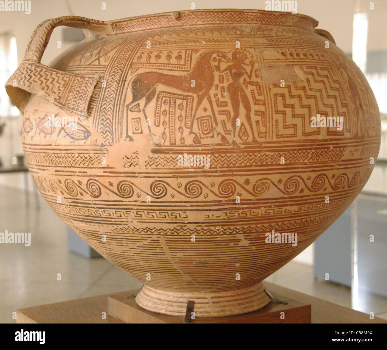 Krater with geometric decoration. Late Geometric Period. Argos Archaeological Museum. Greece. - Stock Image
