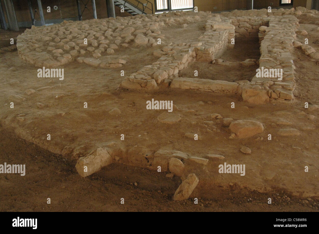 Burial mound on a cycladic cemetery. Archaeological Museum of Marathon. Greece. - Stock Image
