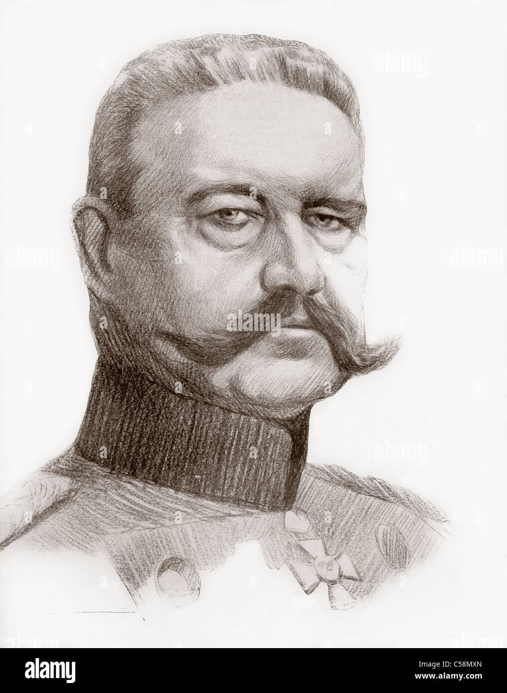 Paul Von Hindenburg, 1847 - 1934. German Field Marshal and second President of Germany. - Stock Image