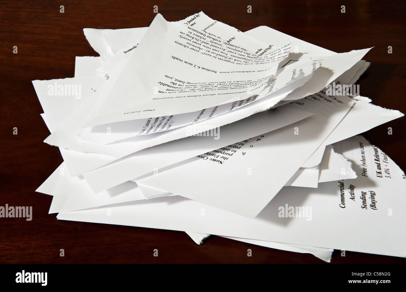 A torn up document  or contract - Stock Image