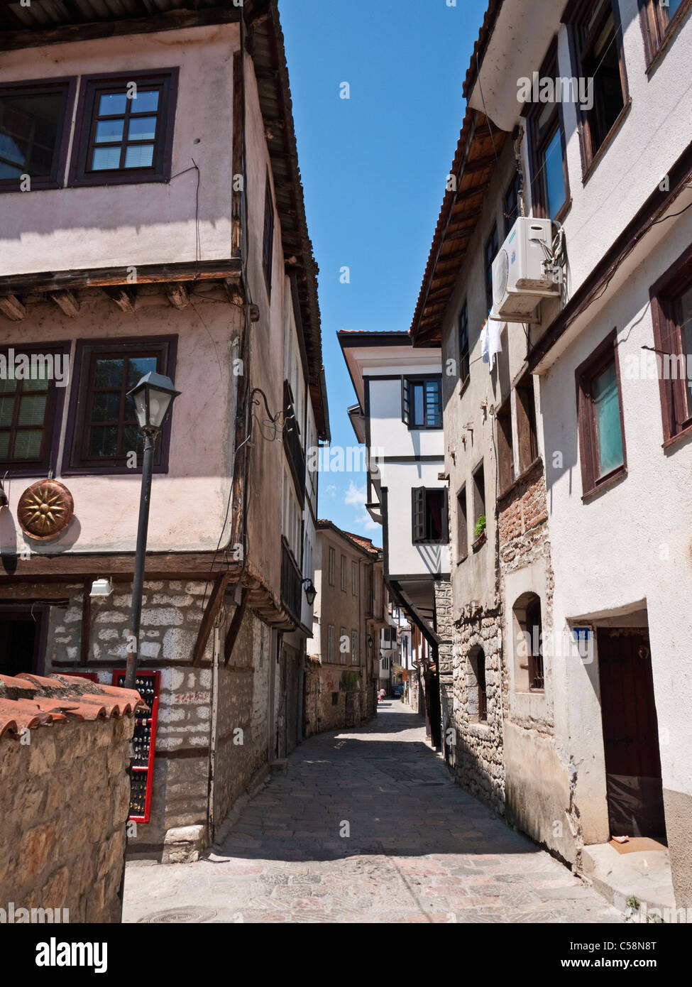 Street view in Ohrid old town, Macedonia - Stock Image