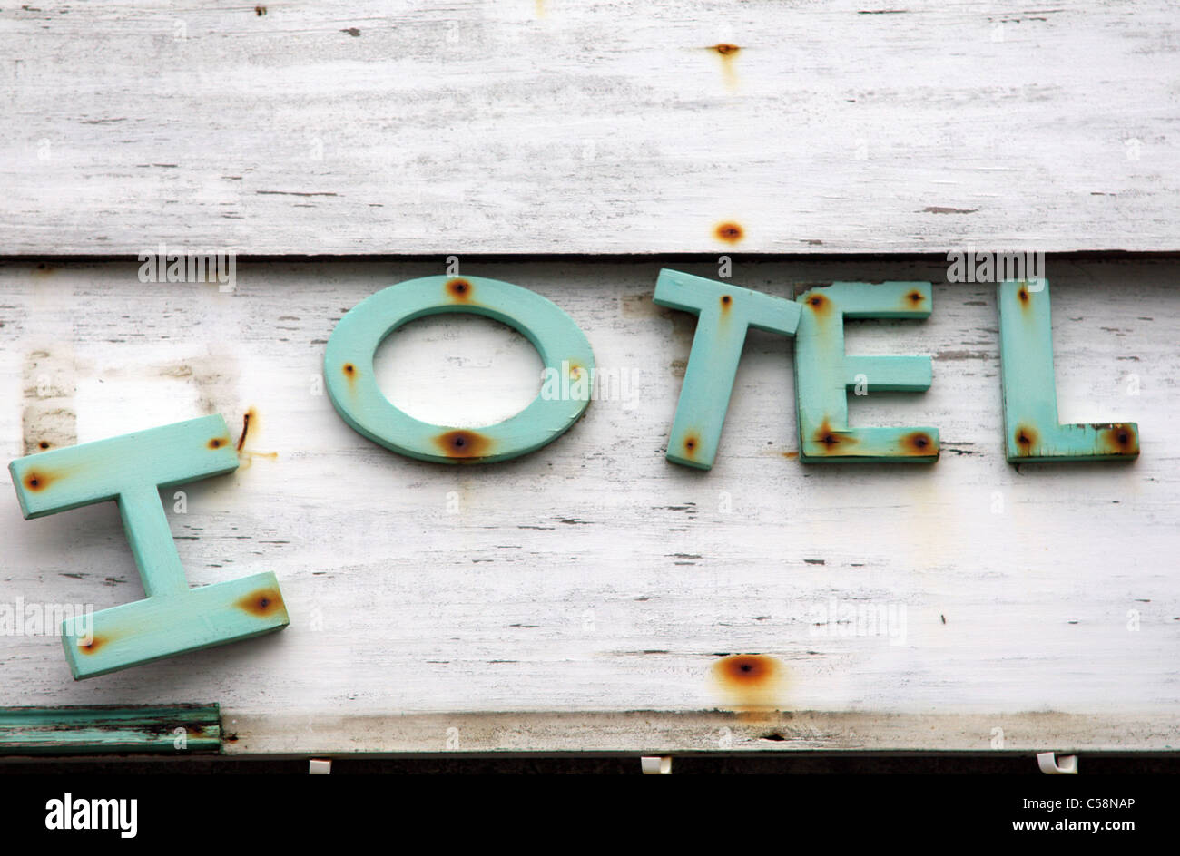 Dilapidated Hotel Sign, Barbados - Stock Image