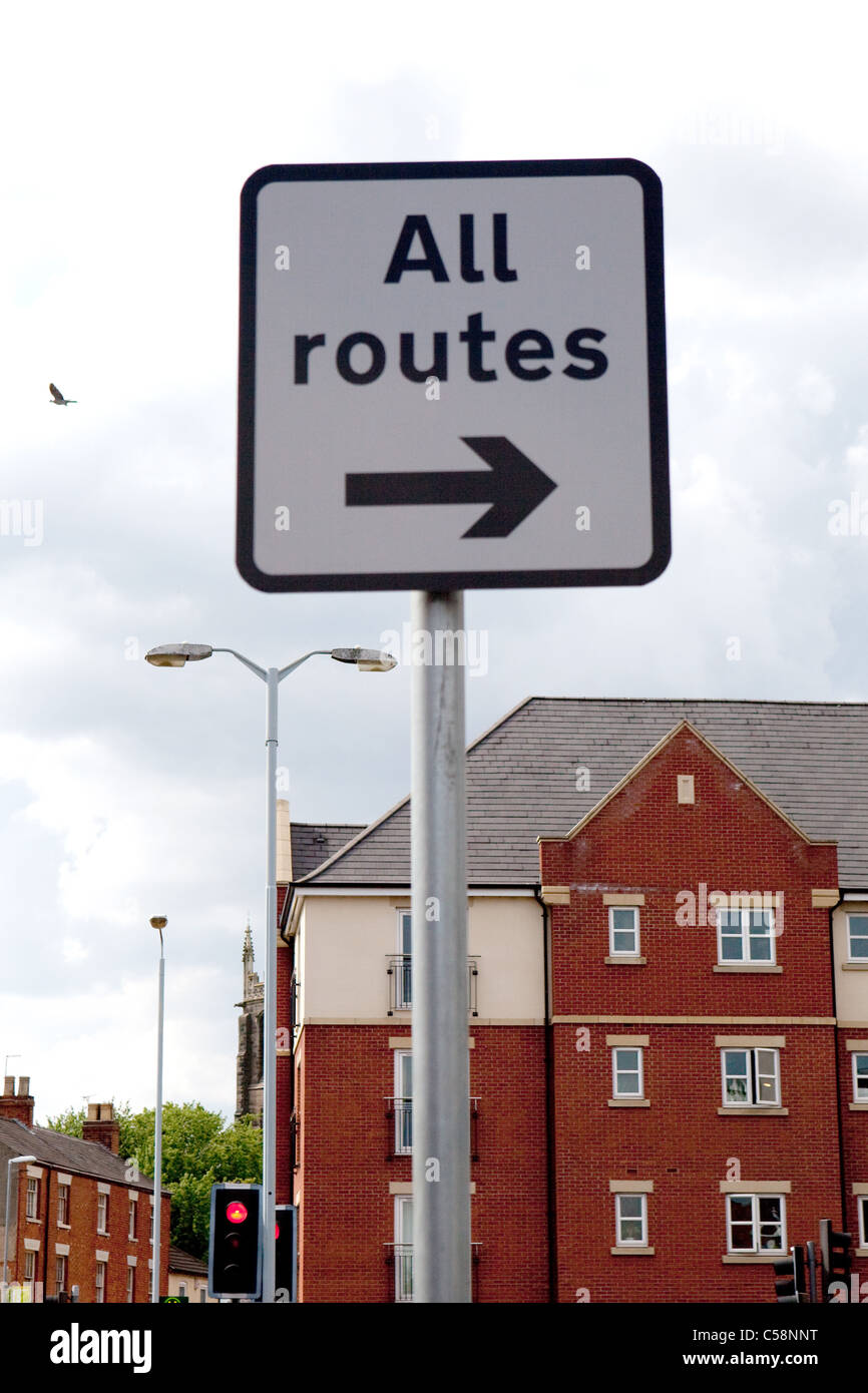 UK 'All Routes' Black and White Traffic / Street Directional Sign - Stock Image