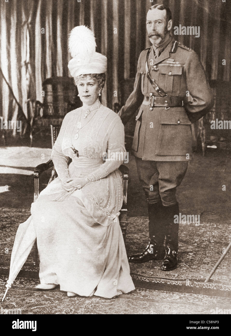 Silver Wedding portrait of King George V and Queen Mary in 1918. - Stock Image