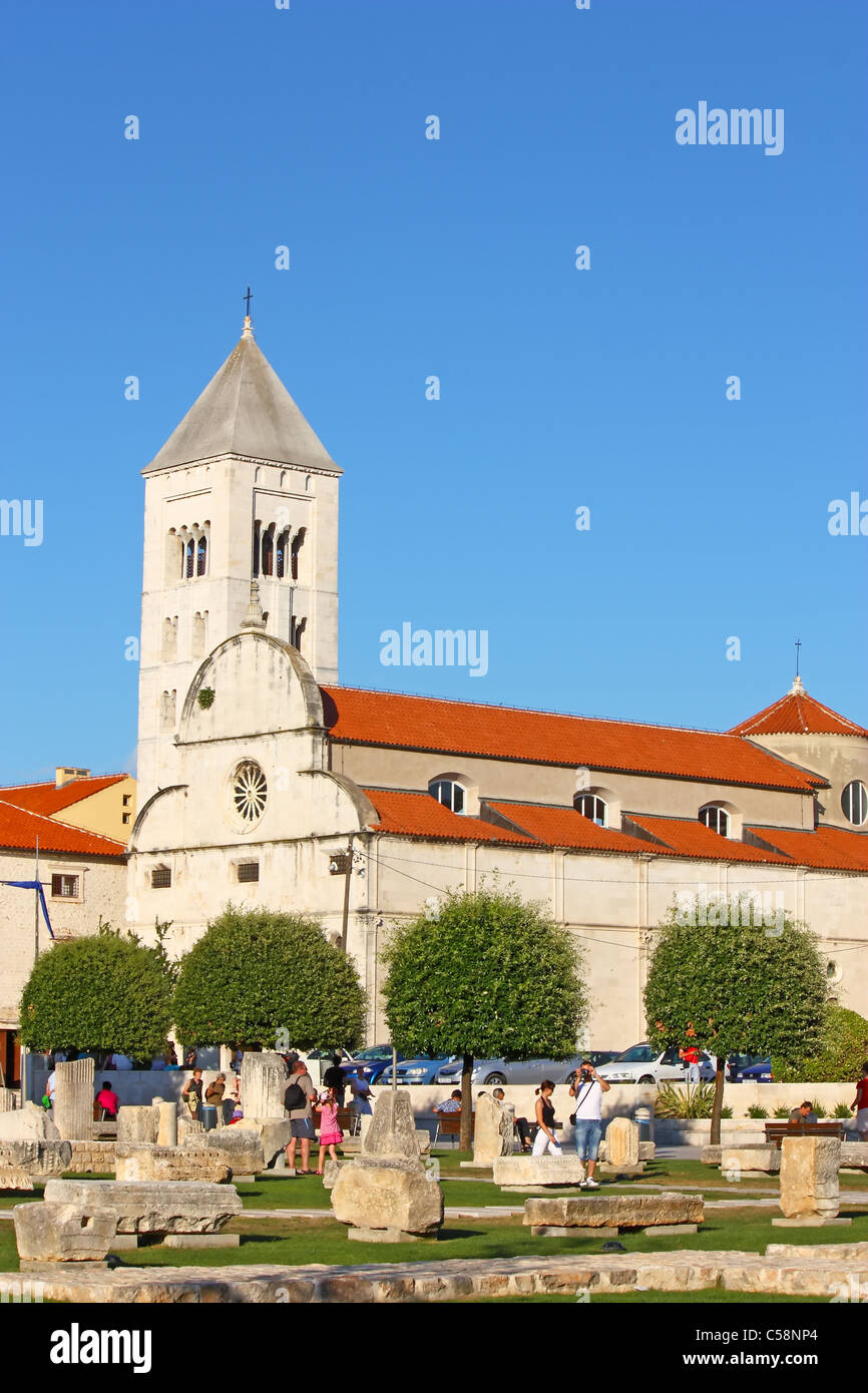 St. Mary's church located in the old city of Zadar opposite St. Donatus Church, Croatia Stock Photo