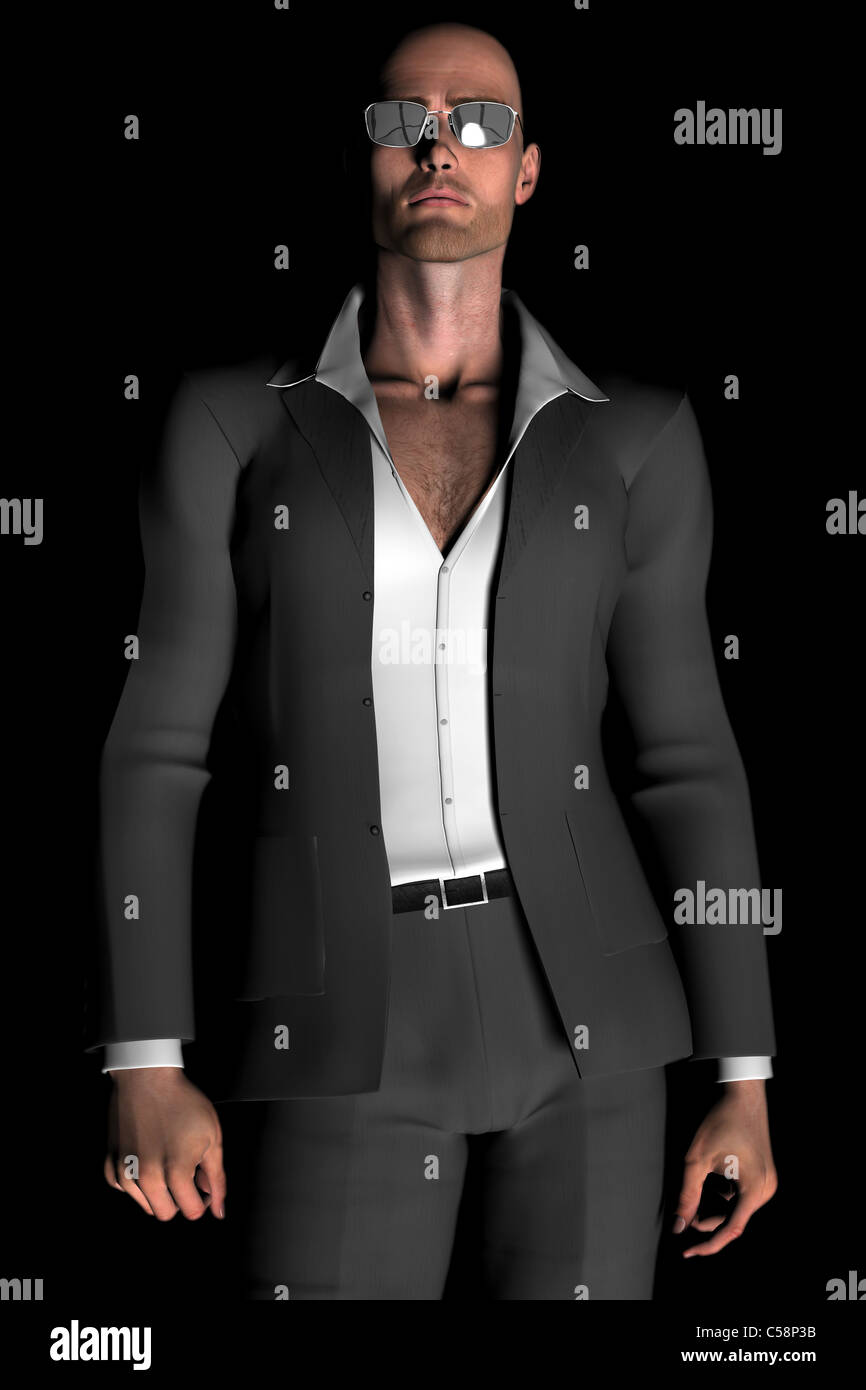 Digital illustration of a young, bald man in a suit and sunglasses. - Stock Image