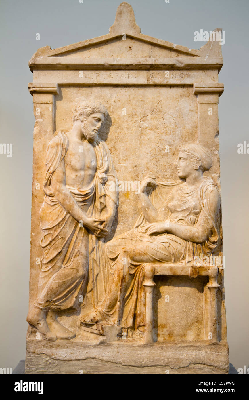 The grave stele of Ktesileos and Theano, ca. 400 BC. See description for more information. - Stock Image