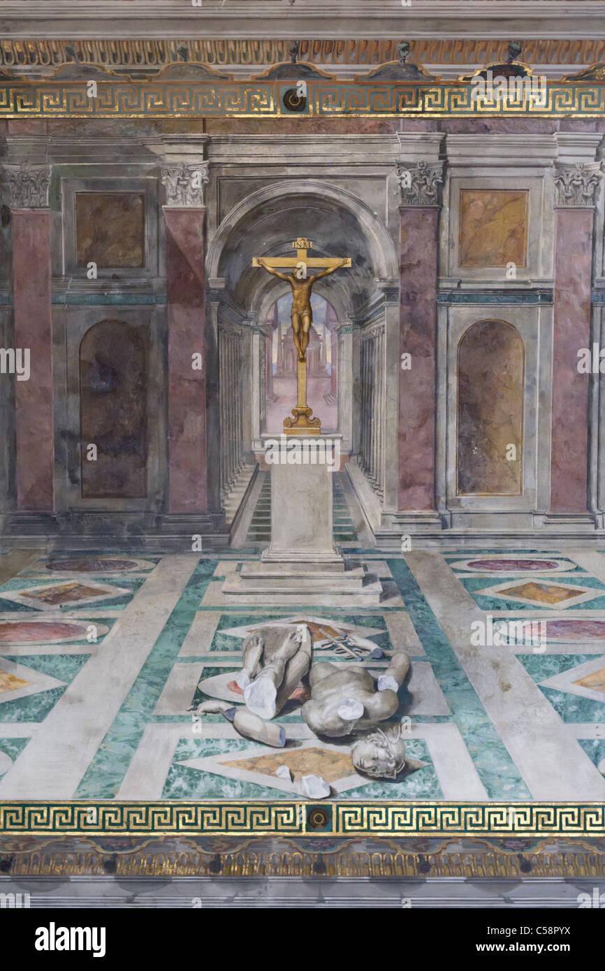 The triumph of christianity over paganism, detail, Tommaso Laureti, room of Constantine, Vatican museum, Rome, Italy - Stock Image