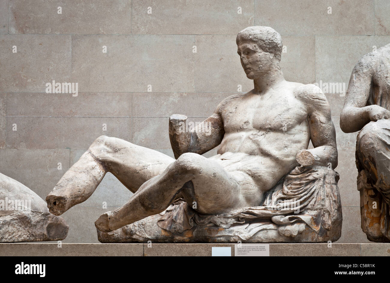 Figure of Dionysos or possibly Ares from the West Pediment of the Parthenon. - Stock Image