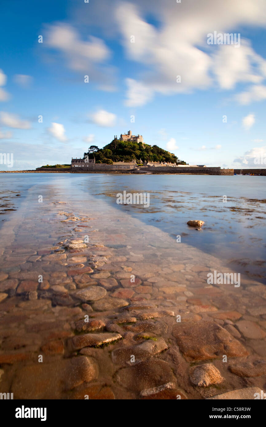St Michael's Mount; Cornwall;and causeway from Marazion - Stock Image