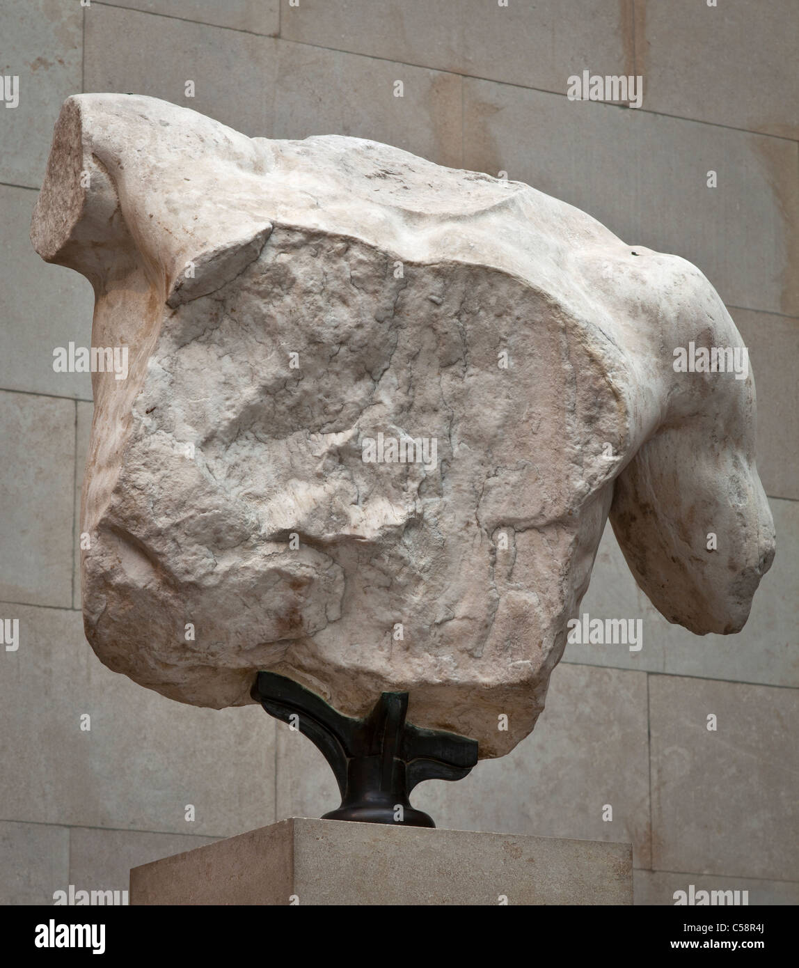 Torso of Poseidon. Fragment from the East pediment of the Parthenon. - Stock Image