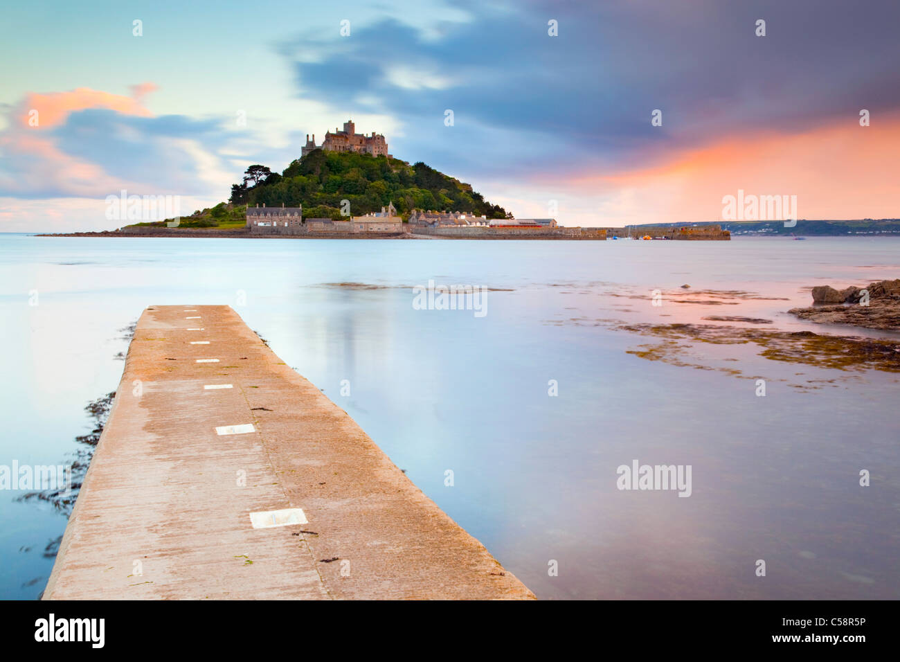 St Michael's Mount; Cornwall; sunset; from Marazion - Stock Image