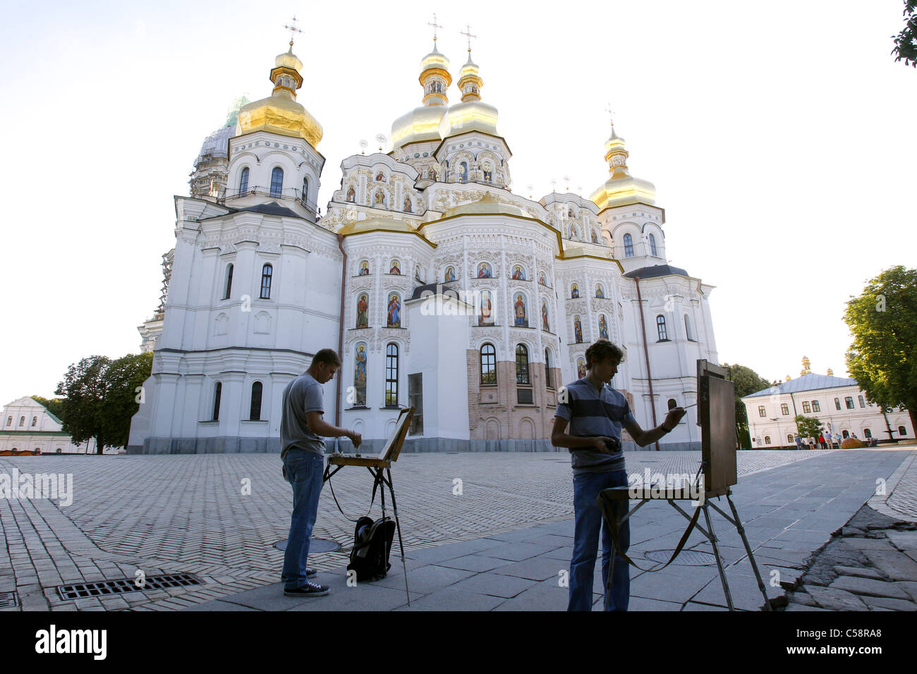 ARTISTS AT CATHEDRAL OF THE DORMITION PECHERSK LAVRA KIEV UKRAINE 15 June 2011 - Stock Image