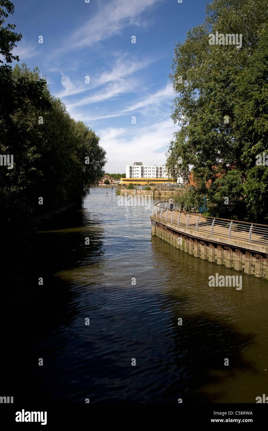river wandle bell lane creek wandsworth london england - Stock Image