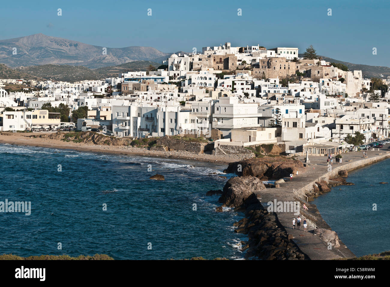 Looking across to the Old town of Naxos, from the Palateia, Peninsula, Naxos island, Cyclades, Greece - Stock Image