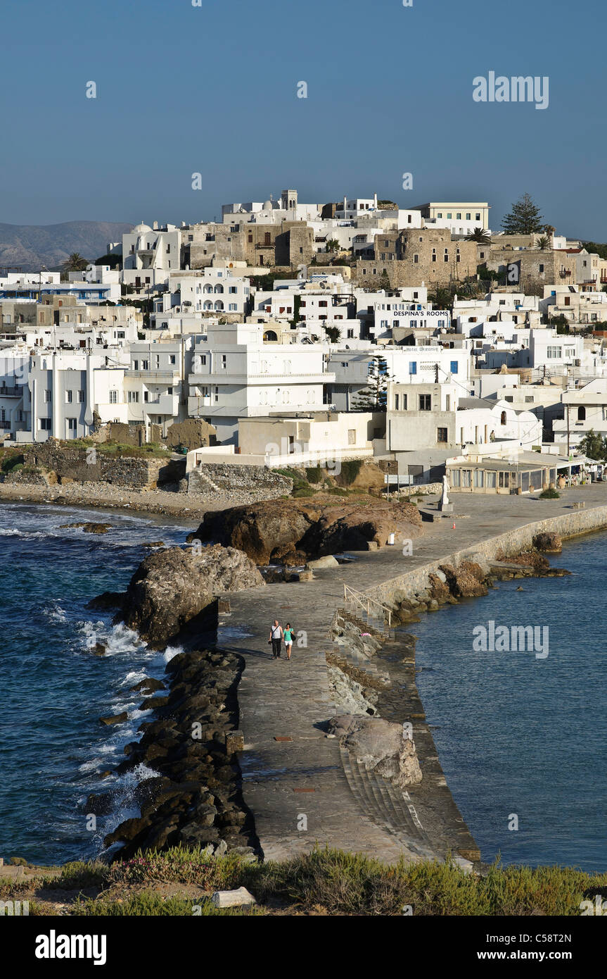 Looking across to the Old town of Naxos, from the Palateia Peninsula, Naxos island, Cyclades, Greece - Stock Image