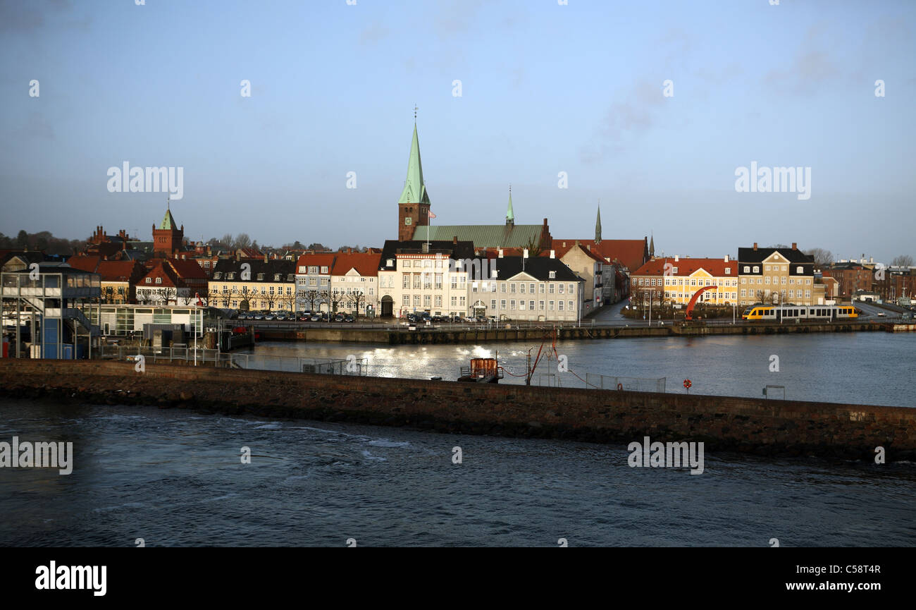 View of the harbour and the St Olai Church, Helsingor, Denmark - Stock Image