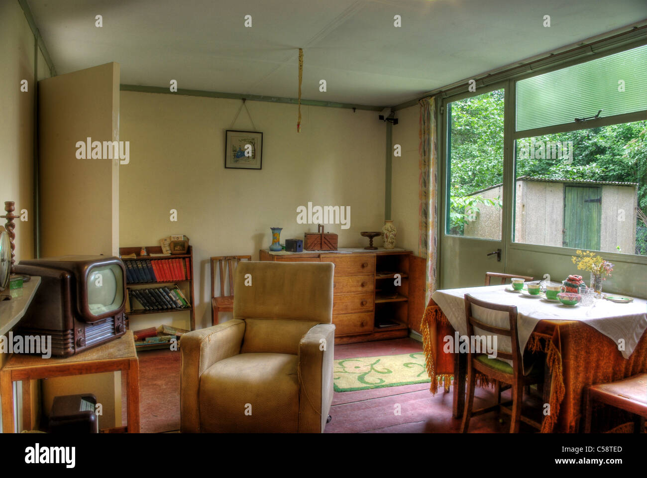 Interior of a 1940's prefab house at Avoncroft Museum of Historic Buildings. - Stock Image
