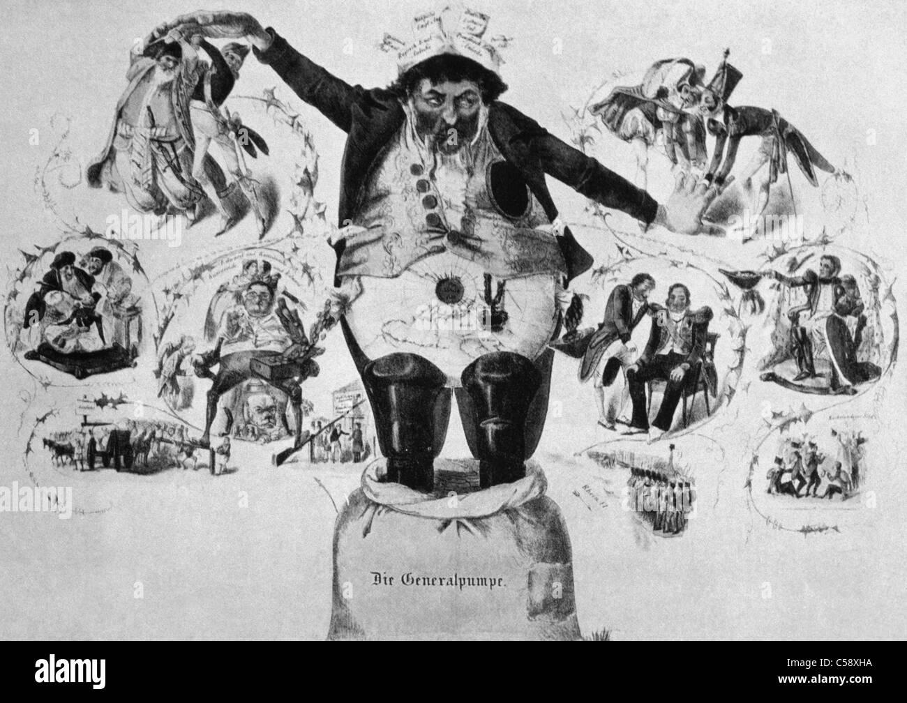 Illustration Of Anti-Semitism Anshel Rotchield As The World Finance Leader - Stock Image