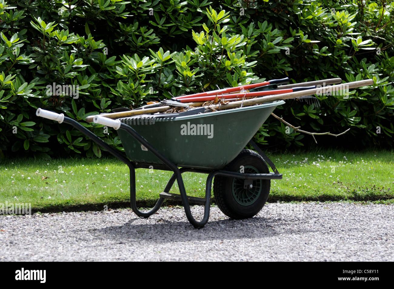 White handled green wheelbarrow full of gardening tools - Stock Image