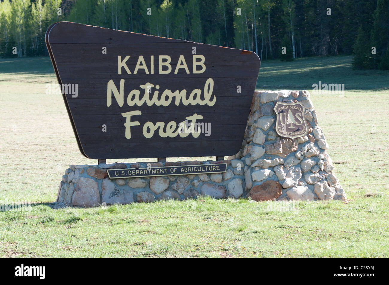 Kaibab National Forest sign on the North Rim of Grand Canyon National Park - Stock Image