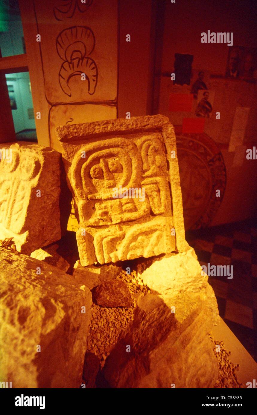 Mayan glyph sculpture, Merida, Yucatan, Mexico - Stock Image