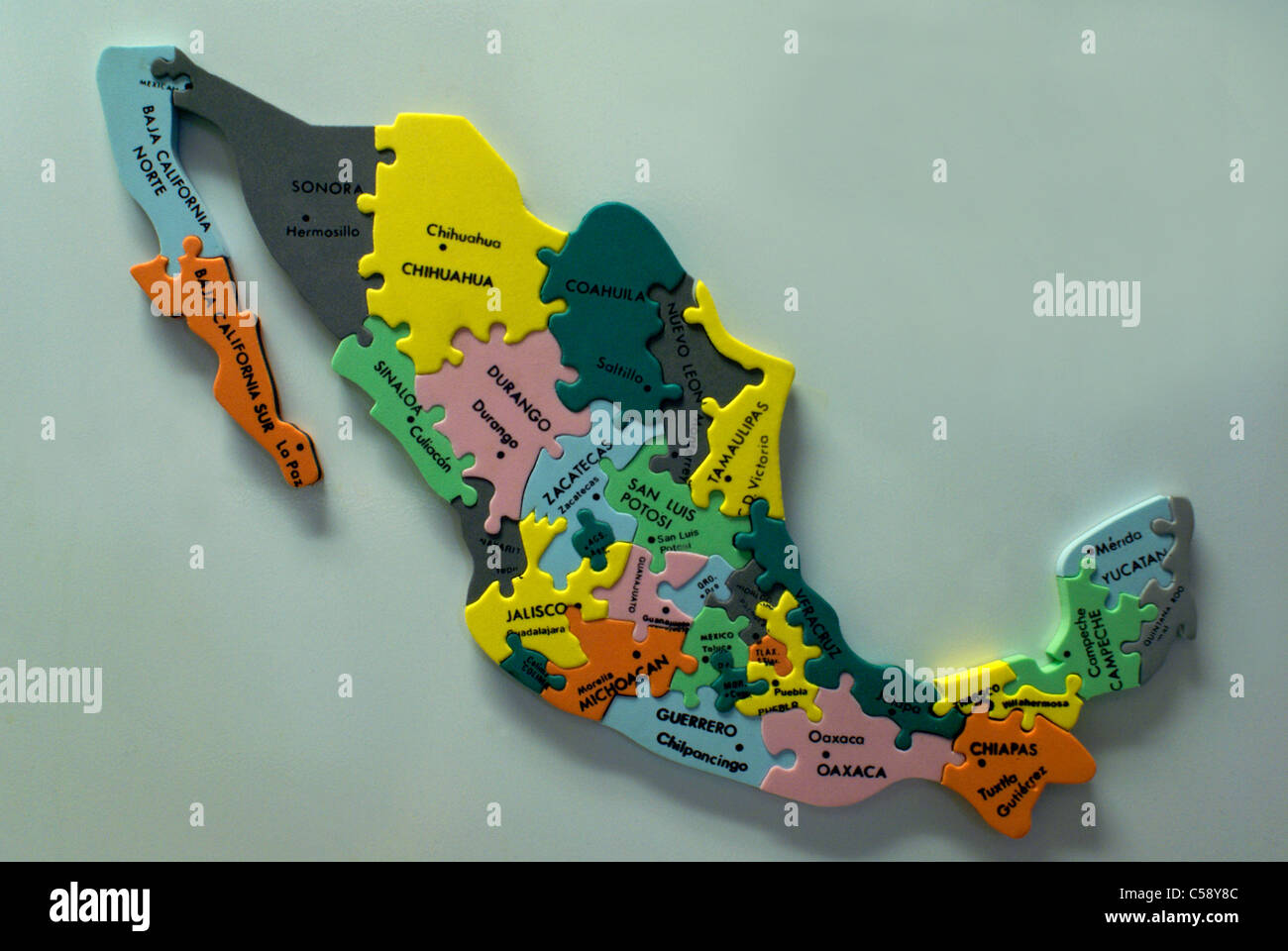 colorful jigsaw map of mexico puzzle showing mexican states and major cities