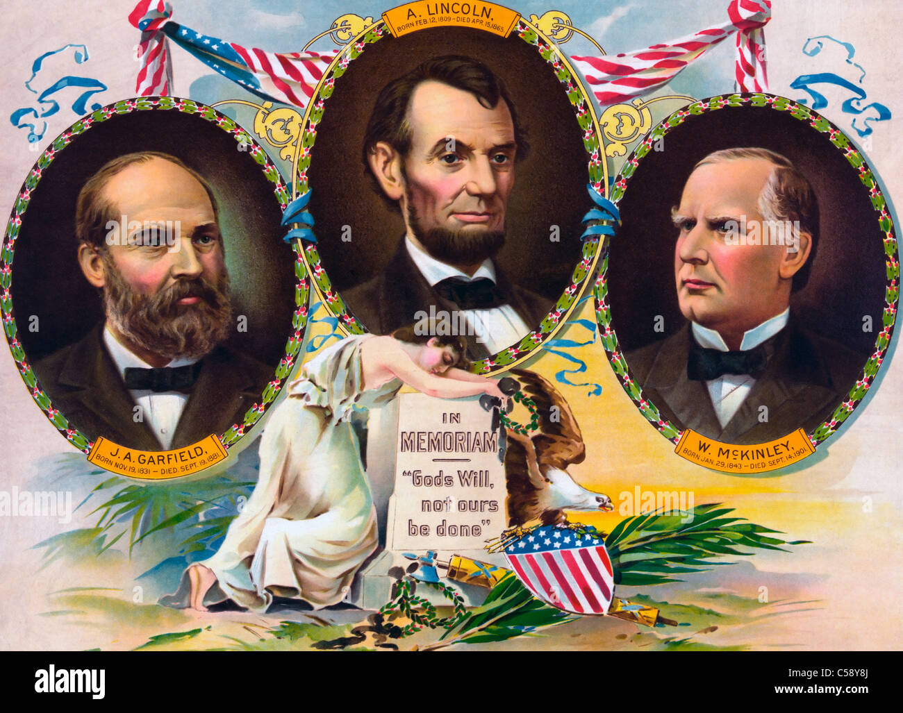 In memoriam. 'God's will, not ours be done'  Poster featuring three assassinated USA Presidents, circa - Stock Image