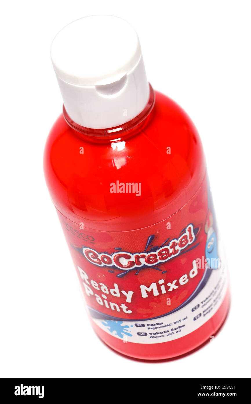 Red plastic flip top bottle of Tesco GoCreate  red ready mixed paint. - Stock Image