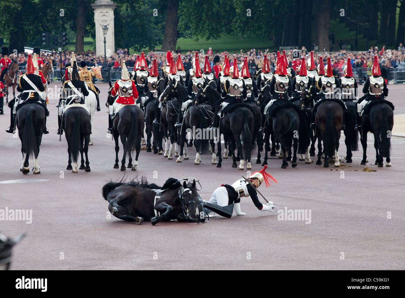 Royals horse Guard falls off horse at Trooping the Colour ceremony in London June 11, 2011. - Stock Image