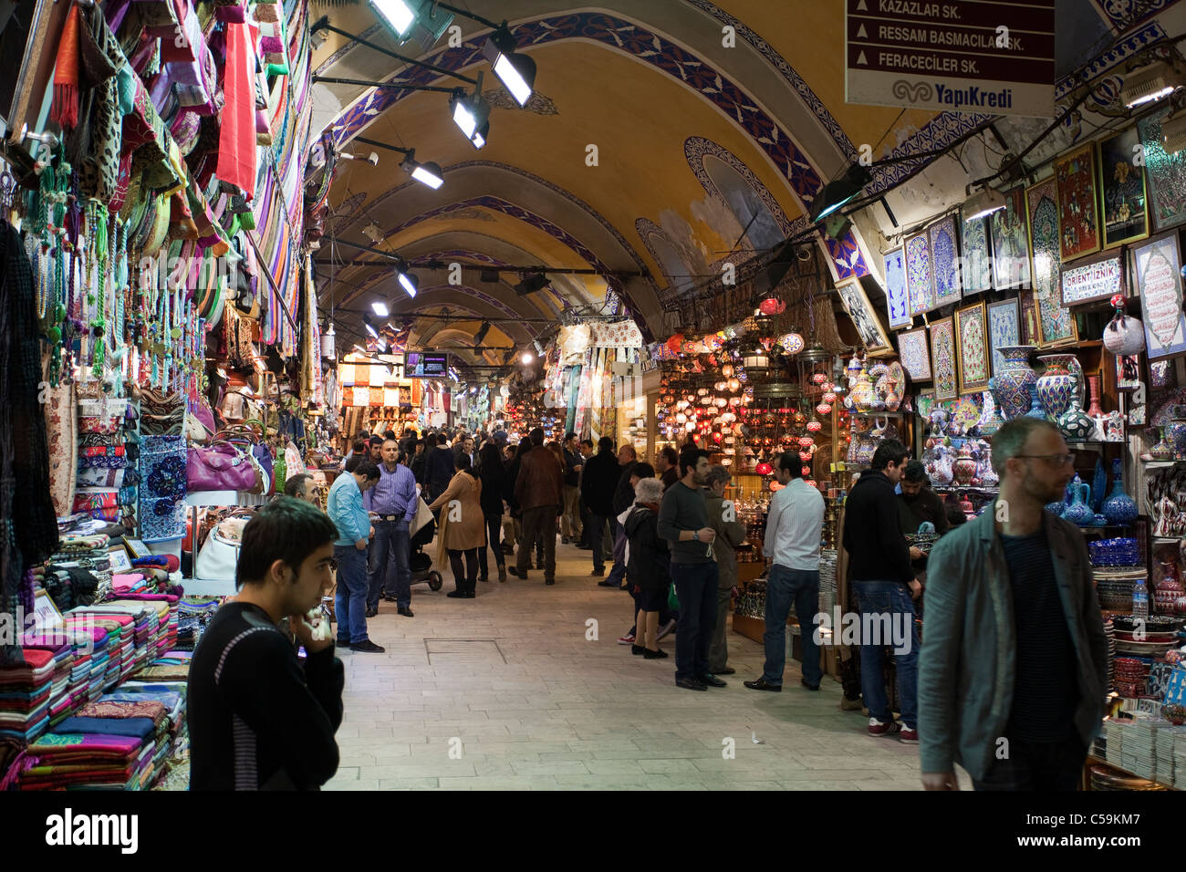 People shopping in the Grand Bazaar. This is one of the largest and oldest covered markets in the world. March 19, - Stock Image