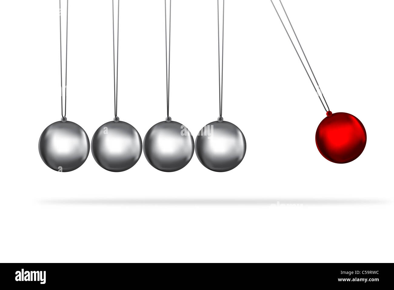 newtons cradle concept of teamwork and the individual represented by coloured balls - Stock Image